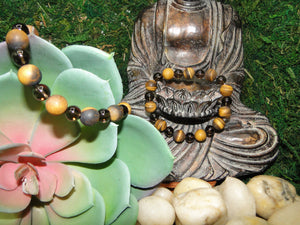Tiger's Eye and Smoky Quartz Protection Bracelet