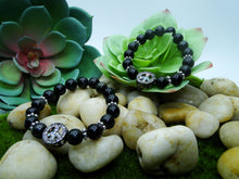 Load image into Gallery viewer, Rainbow Obsidian Peace Love & Light Bracelet
