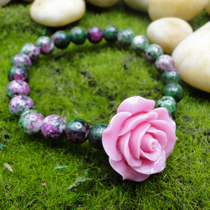Ruby in Zoisite with Pink Stone flowers, Confidence Boost Bracelet