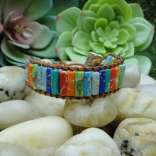 Load image into Gallery viewer, Natural Stone Leather Chakra Bracelet -  Energy Bangle Bracelet