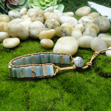 Load image into Gallery viewer, Amazonite Stone Leather Energy Bracelet