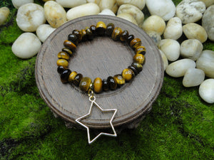 TIger's Eye Nuggets Unisex Bracelet with or with out Charm