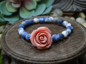Sodalite and Rose Bracelet