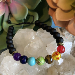 Chakra Bracelet with Bronze Spacers, Adjustable