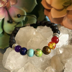 Chakra Bracelet with Silver Etched Cubes, Adjustable