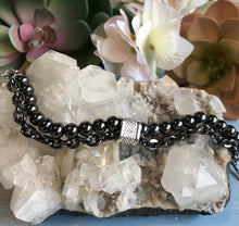 Load image into Gallery viewer, Dark Hematite Bracelet with Stainless Steel Chain