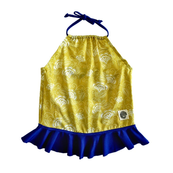 tankini, swimwear, girls, yellow, blue, repreve
