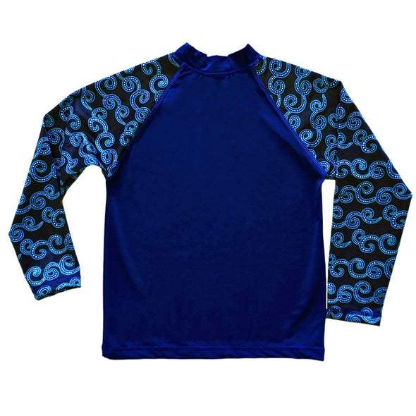 rashguard, blue, waves, boys
