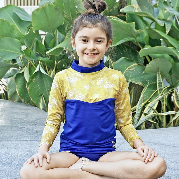 rashguard, swimwear, girls, blue, yellow, repreve