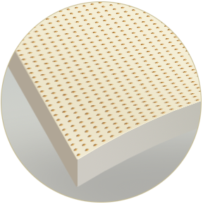 Uniform perforated surface ensures perfect ventilation, with a stiff mattress core