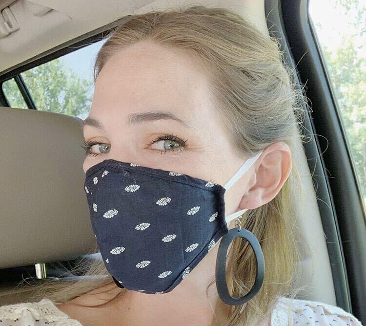 turmerry organic cotton face mask with built in washable filter - pack of 2 palmetto pattern