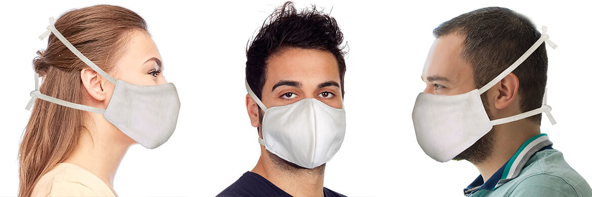 Organic Cotton Face Mask Elastic Free White With Built in Filter