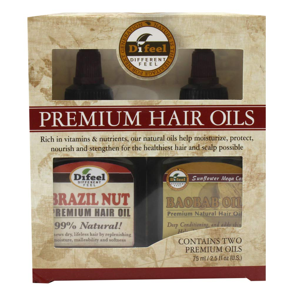 Difeel Premium Natural Hair Oil - Brazilian Nut Oil and Baobab Oil 2.5 Ounce (2-Piece Set)