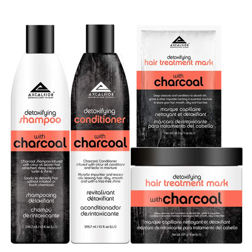 Excelsior Detoxifying Charcoal Hair Collection - 4 Piece Hair Care Set