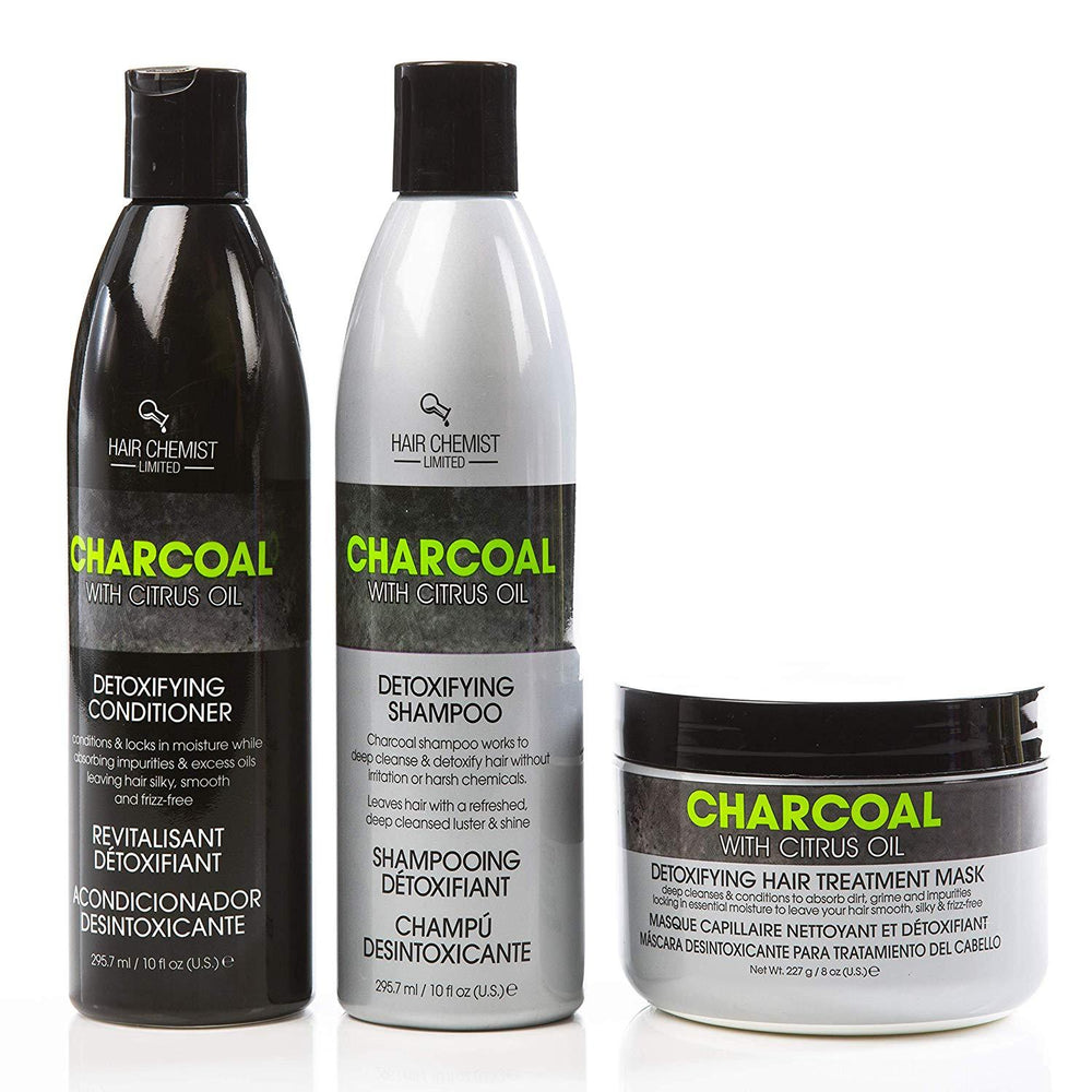 Hair Chemist Charcoal w/Citrus Oil COMBO: Shampoo 10 oz. + Conditioner 10 oz. + Hair Mask 8 oz.