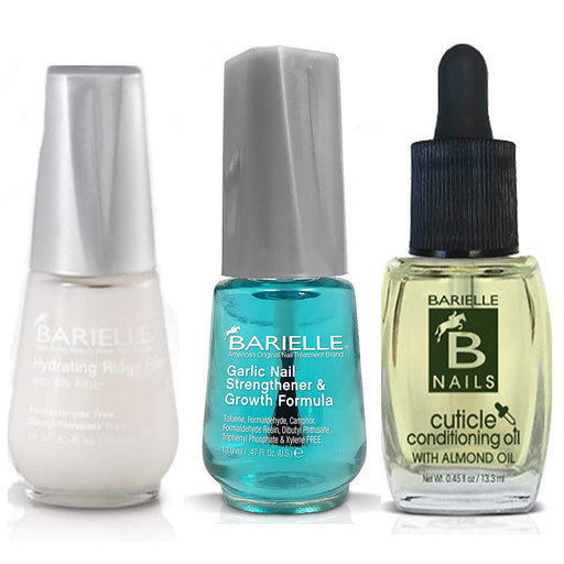 Barielle Garlic Nail Strengthener, Ridge Filler, Cuticle Oil and Nail File (4-PC Set) …