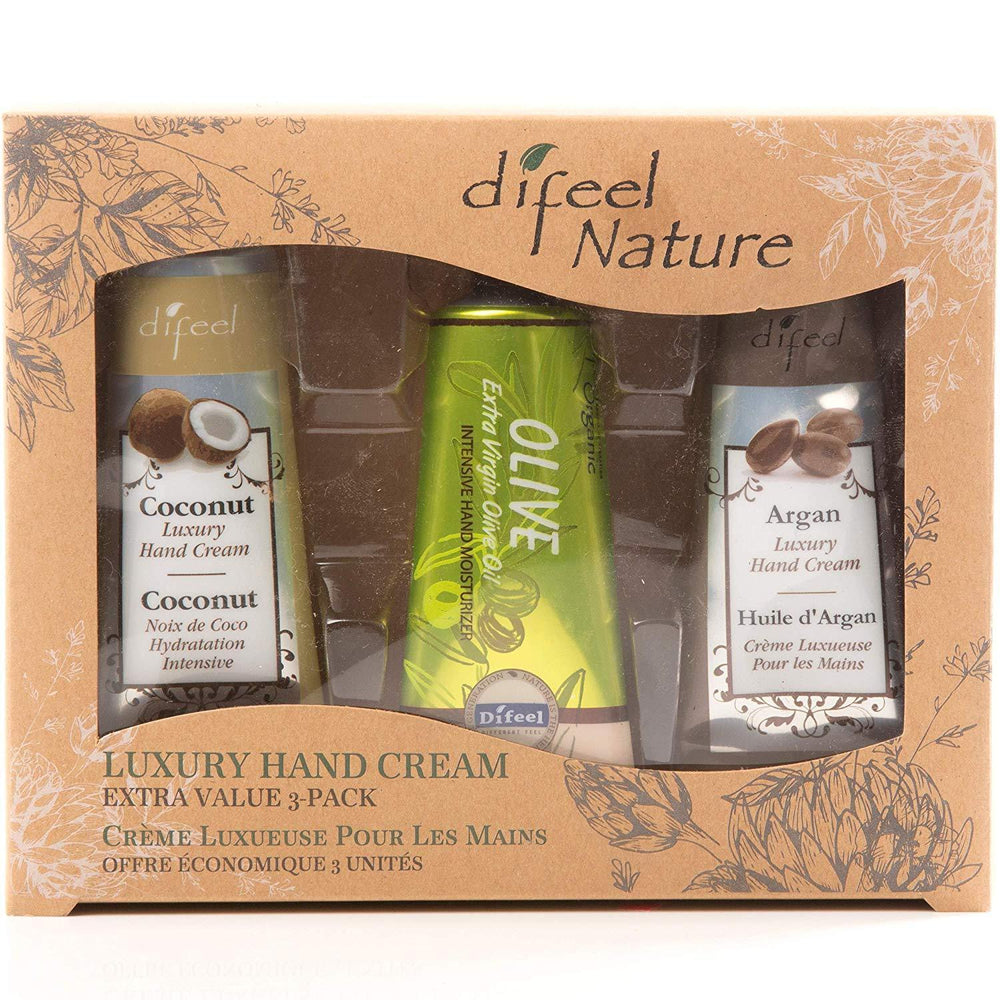 Difeel Luxury Hand Cream Extra Value 3 Pack Set - Coconut Luxury Hand Cream 1.4 oz, Olive Luxury Hand Cream 1.4 oz & Argan Luxury Hand Cream 1.4 oz