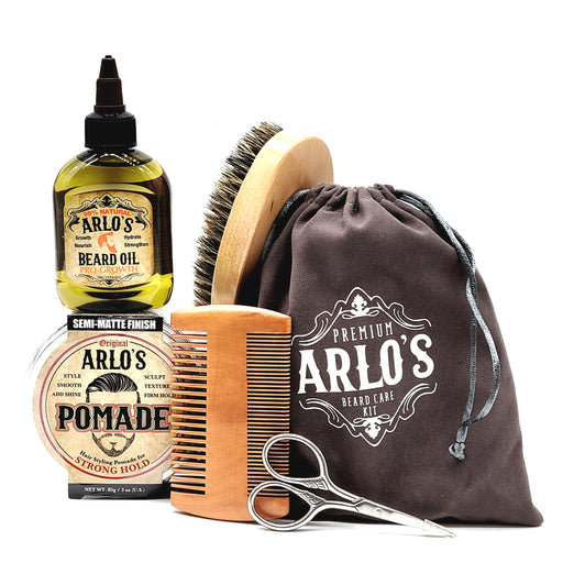 Arlos 6PC Mens Hair & Beard Grooming Kit with Strong Pomade & ProGrowth Beard Oil