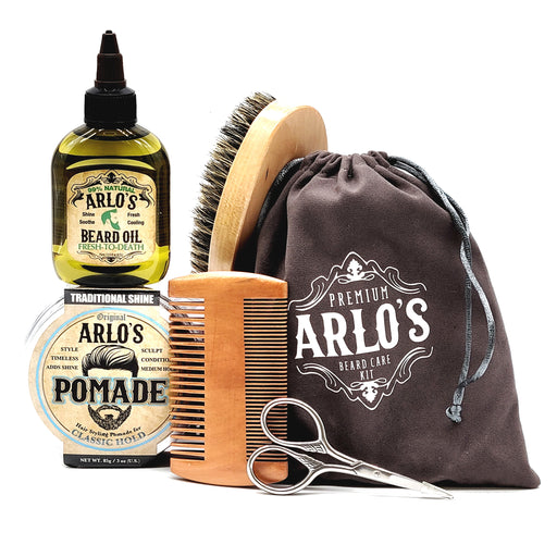 Arlos 6PC Mens Hair & Beard Grooming Kit with Classic Pomade & Peppermint Beard Oil