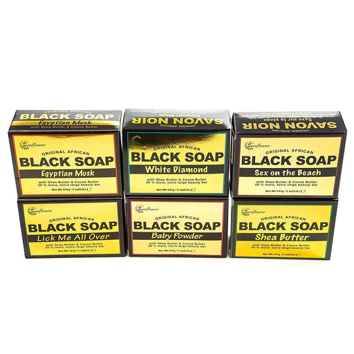 Sunflower African Black Soap Set - Includes Six (6) Luxury Scented Soaps