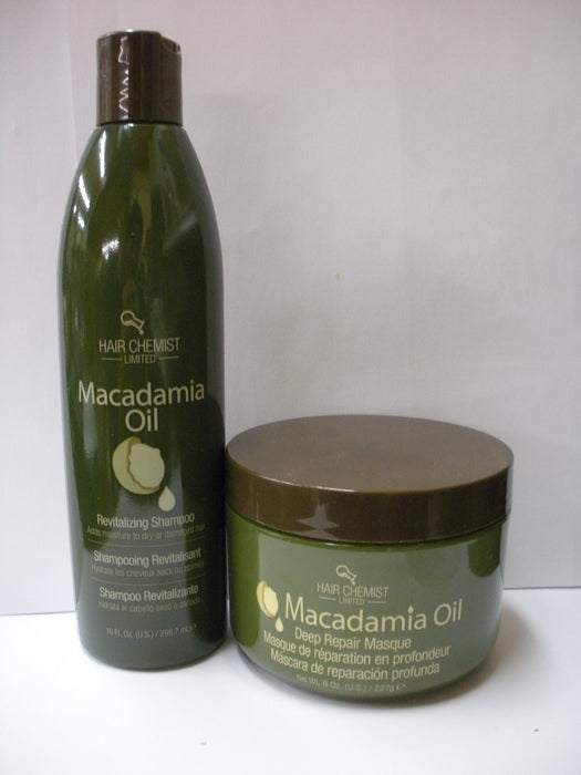 Hair Chemist Macadamia Oil Revitalizing Combo Shampoo 10oz +Deep Repair Mask 8oz