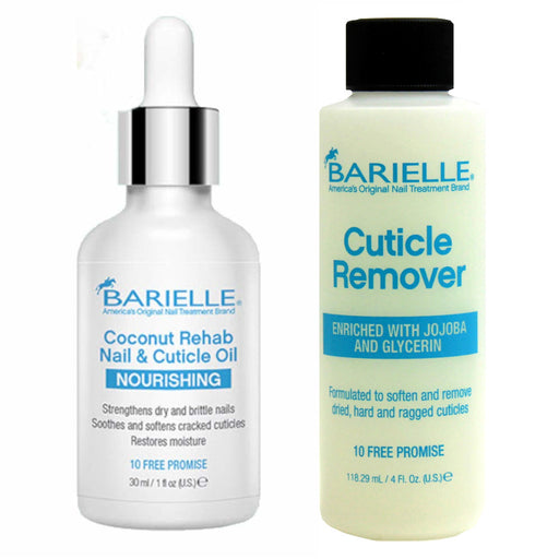 Barielle Coconut Rehab Nail and Cuticle Oil 1oz AND Barielle Cuticle Remover 4 oz. 2-PC Combo