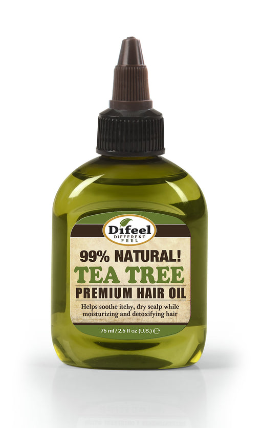 Difeel Premium Natural Hair Oil - Tea Tree Oil for Dry Scalp 2.5 oz. - Pure Herb Formula with Vitamins, Strengthens & Repairs Hair Follicles