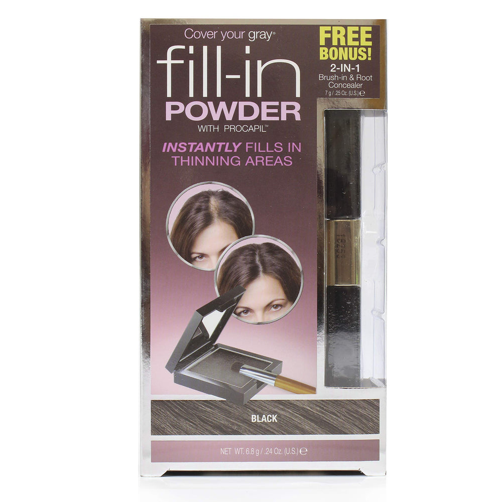Cover Your Gray Fill in Powder - Black w/ Bonus 2-in-1 Brush-in & Root Concealer