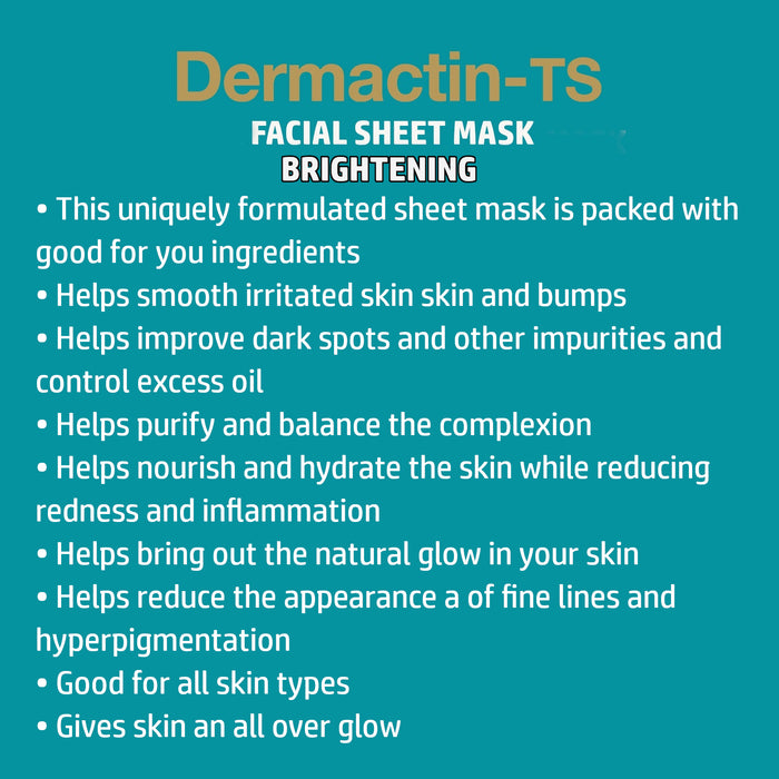 Dermactin-TS Brightening Facial  Sheet Mask 4-Count