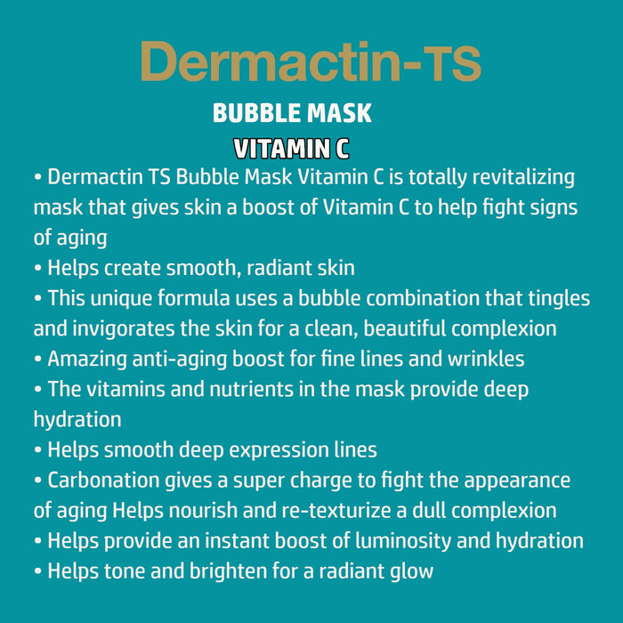 Dermactin-TS Facial Bubble Sheet Mask w/Vitamin C, Helps Fight Aging Signs 6PK