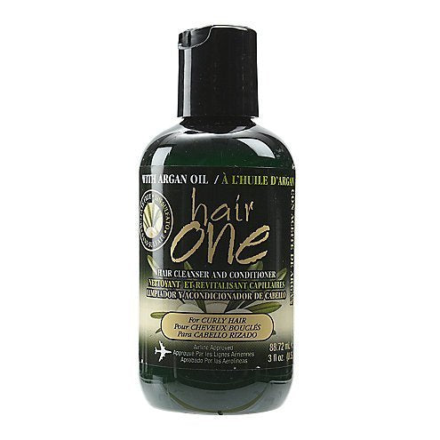 Hair One Argan Oil Hair Cleanser Conditioner For Curly Hair 3 oz.