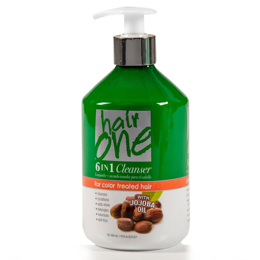 Hair One 6 In 1 Cleanser with Jojoba Oil For Color Treated Hair 16.9 oz.