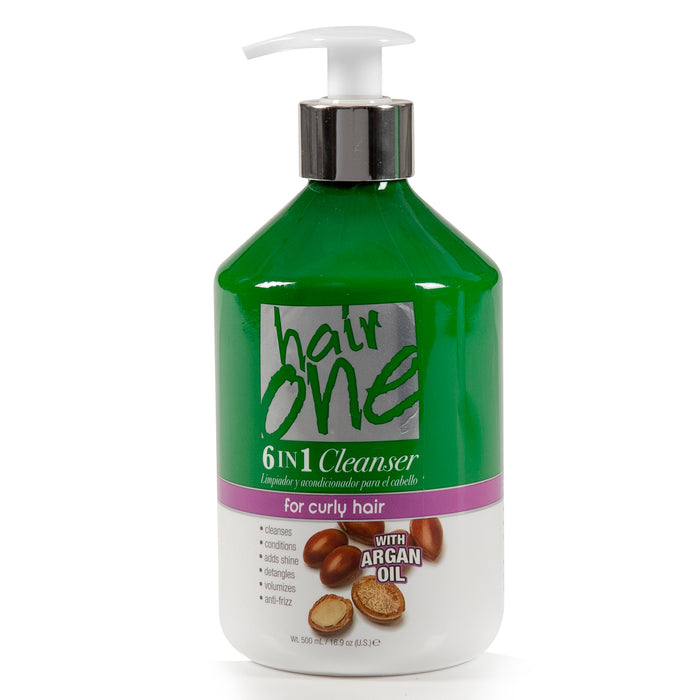 Hair One 6 In 1 Cleanser with Argan Oil For Curly Hair 16.9 oz.