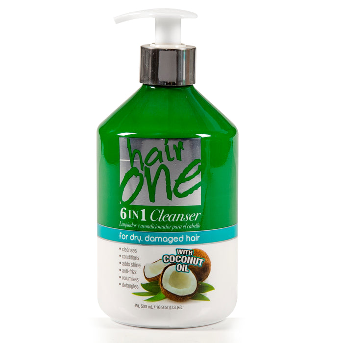 Hair One 6 In 1 Cleanser with Coconut Oil For Dry And Damaged Hair 16.9 oz.