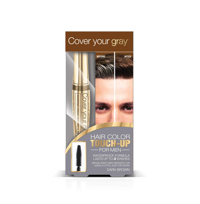Cover Your Gray for Men Waterproof Brushin Hair Color Touchup - Dark Brown