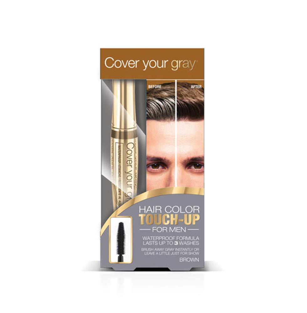 Cover Your Gray for Men Waterproof Brushin Hair Color Touchup- Medium Brown
