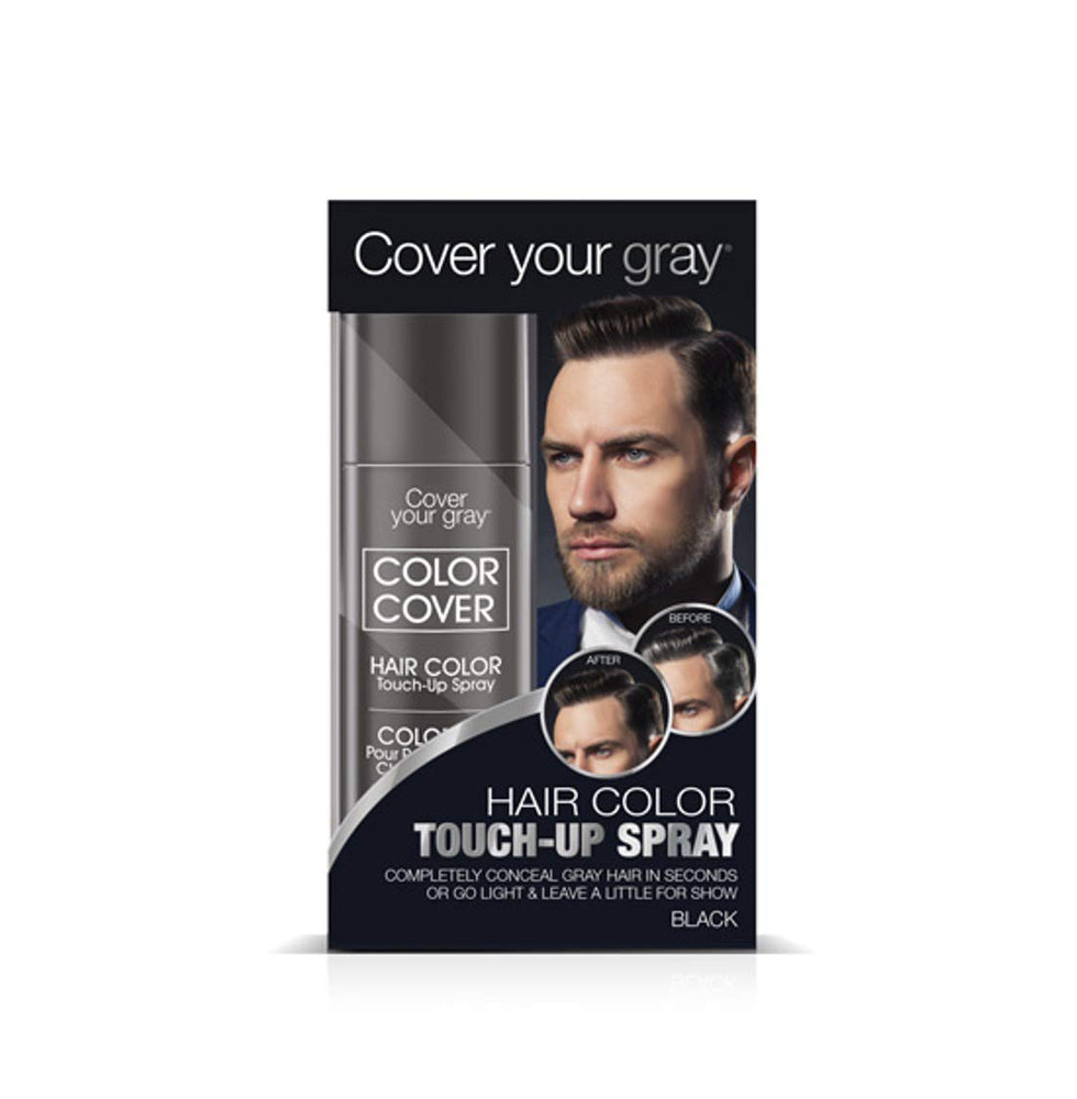 Cover Your Gray for Men Color Cover Hair Color Touchup Spray - Black (2-PACK)