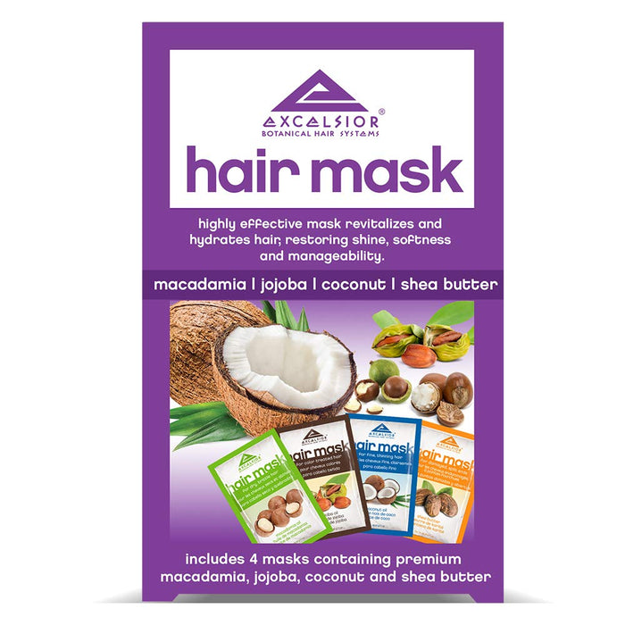 Excelsior Hair Mask Pkt. Collection 4CT Macadamia, Jojoba, Coconut, & Shea 6PK