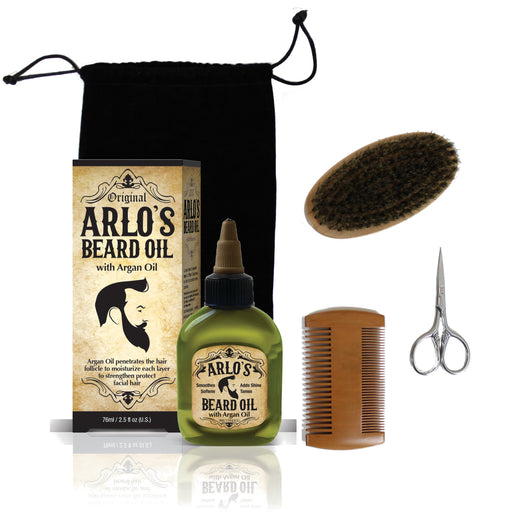 Arlo's 5-PC Mens Premium Beard Grooming Kit w/ Argan Beard Oil 2.5oz -Beard Oil, Beard Brush, Beard Comb, Beard Scissors & Carry Bag