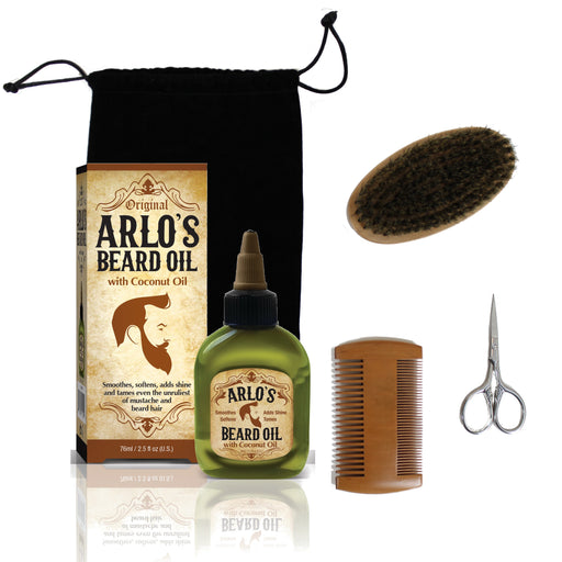 Arlo's 5-PC Mens Premium Beard Grooming Kit w/ Coconut Beard Oil 2.5oz Beard Oil, Beard Brush, Beard Comb, Beard Scissors & Carry Bag
