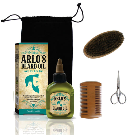 Arlo's 5-PC Mens Premium Beard Grooming Kit w/ Tea Tree Beard Oil 2.5oz -Beard Oil, Beard Brush, Beard Comb, Beard Scissors & Carry Bag