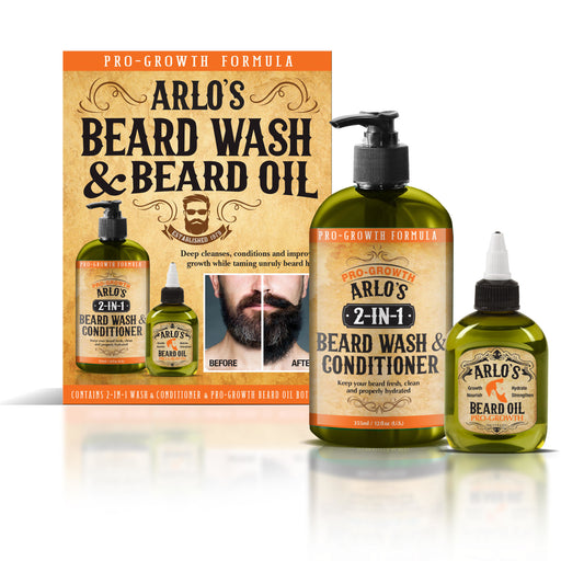 Arlo's 2in1 Pro-Growth Beard Wash 12oz with Beard Oil 2-PC Set