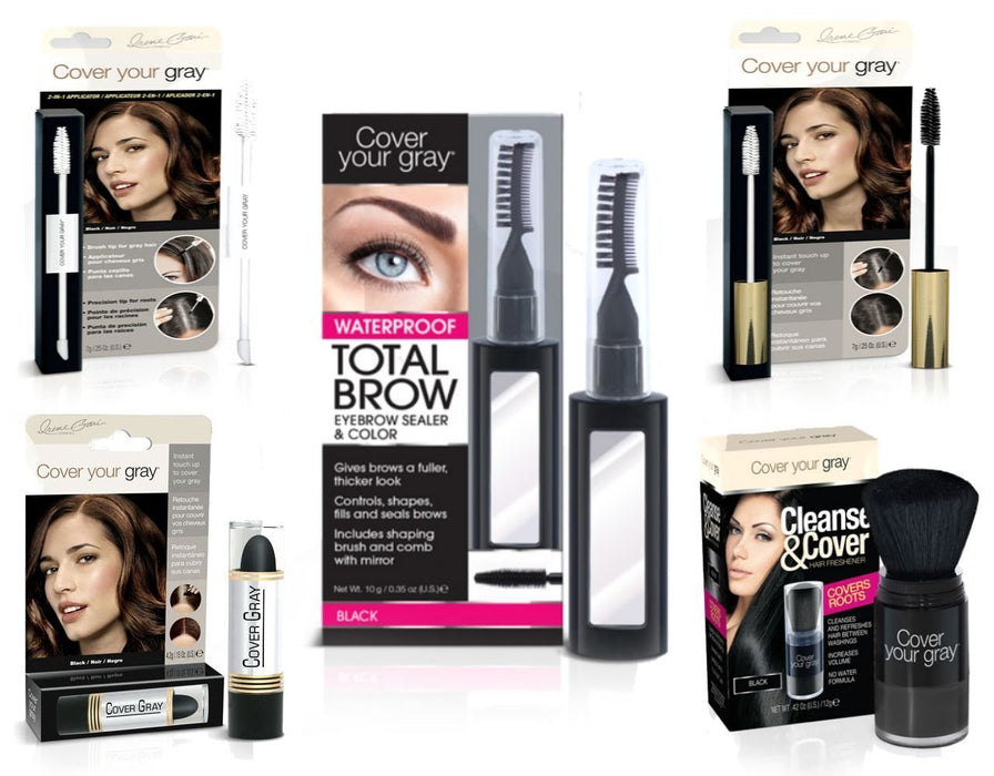 Cover Your Roots Head & Brow Gray Coverage 5 Piece Set - Black