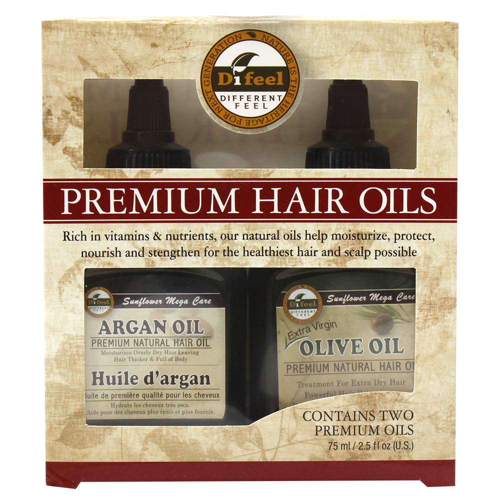 Difeel Premium Natural Hair Oil- Olive Oil Hair Oil & Argan Oil 2.5oz 2PC SET