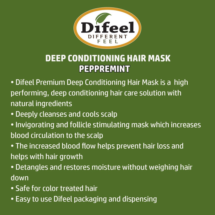 Difeel Premium Deep Conditioning Hair Mask with Peppermint Oil 1.75 oz.