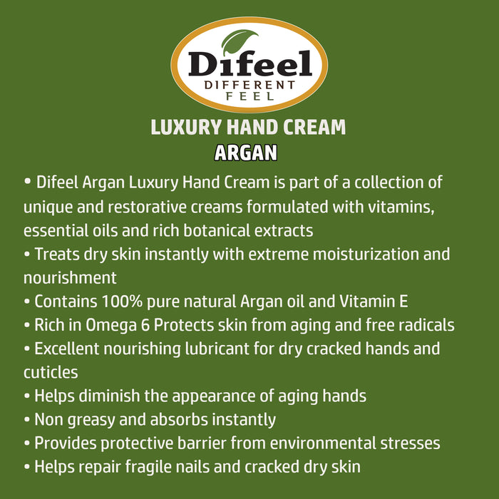 Difeel Luxury Moisturizing Hand Cream - Argan Oil for Dry Skin 1.4 oz.