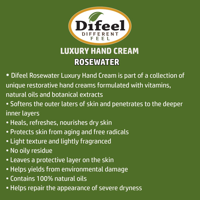 Difeel Luxury Moisturizing Hand Cream - Rosewater 1.4 oz.