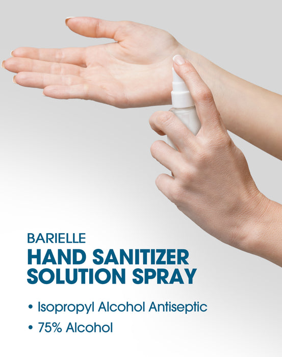 Barielle Hand Sanitizer Solution Spray - No Rinse Formula 75% Alcohol 4 oz.