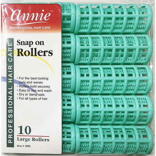 "Annie Snap On Rollers 7/8"" Green 10 -Count"