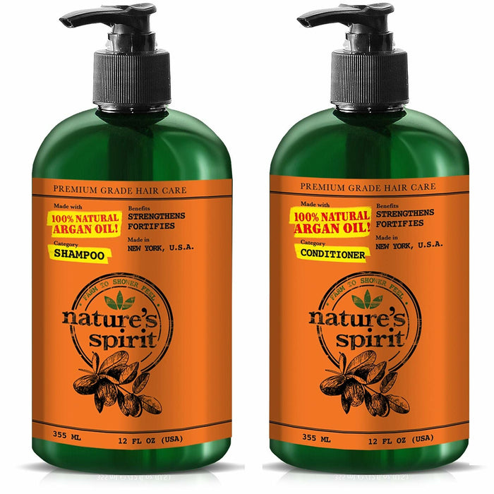 Nature's Spirit Strengthening Argan Oil Shampoo+Conditioner 12oz